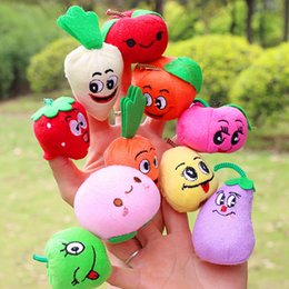 Wholesale Toys Fruit Vegetable - 10 styles Cute Fruit Vegetable Finger Puppets toys short floss Baby Hand Puppet toy Kids baby early education Finger Toy Storytelling props