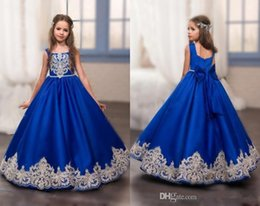 Wholesale Sleeveless Ruffle Shirt - 2017 New Royal Blue Gold Lace Appliques Flower Girl's Dresses Cute Square Neck Princess Long Formal Kids Wear Long Girl's Pageant Dresses