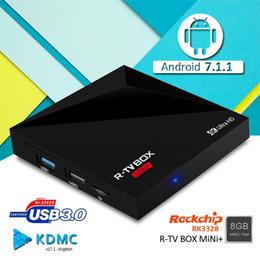 Wholesale Mini Usb Hdmi Tv - New Android 7.1 TV BOX R-TV BOX MINI+ RK3328 quad core 1GB 8GB 4K ultra HD High speed USB 3.0 fully loaded smart tv box