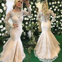 Wholesale Elegant Dresses Online - Sale Elegant Mermaid Evening Dresses with Illusion Long Sleeves Sheer Scoop Neck Prom Dresses with Full Lace Beaded Online
