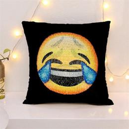 Wholesale Choice Decor - Emoji Reversible Sequin Pillow Case Throw Covers Cusion Emoji Smiley face Discolor Magic Pillowcases Home Sofa Decor Multi Choices