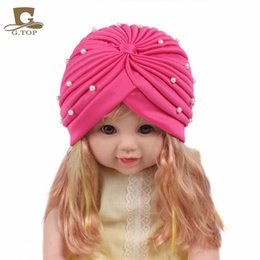 Wholesale Cheap Cute Baby Headbands - Cheap New fashion girls Soft Cute beaded pearl Headbands baby children Cute Turban hat Indian Caps