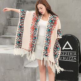Wholesale Long Knit Shawls - Ethnic style Printing Shawl Loose Sweater Tassels Long Cardigan Knitting Spring Autumn Wool Oversize Women Cape Cloak