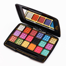 Wholesale Light Yellow Diamond Wholesale - Wholesale-2016 Make Up 18 Colors Eye Shadow Palette To Faced Diamond Particles Eyeshadow High Quality Glitter With Eye Shadow Brush
