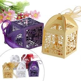 Wholesale Laser Cut Favor Boxes Bird - Wholesale- Hot 50 PCS Love Bird Laser Cut Candy Gift Boxes With Ribbon Wedding Party Favor