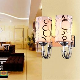 Wholesale Frosted Glass Wall - Modern Wall led decoration one two head frosted glass wall lamps 10*26cm fashion hall light bedside lamp LED 5W E27 bathroom lighting use