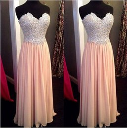 Wholesale Pictures Pink Hearts - Chiffon Lace Up Back Long 2016 Prom Dresses Evening Formal Party Gown Sweet-heart A Line Full Beads Crystals Top Pink