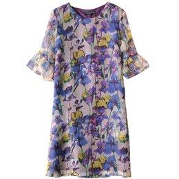 Wholesale Korean Silk Short Dress - Women's Flower Printed Silk Dress - Lady's Summer Korean Style Holiday Dress