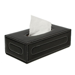 Wholesale Wholesale Leather Tissue Boxes - Wholesale- The Best Quality Elegant Black European PU Leather Magnetic Tissue Paper Box Holder Case Home Car Office