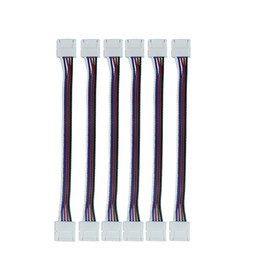 Wholesale Pigtail Wire - 10pcs lot RGBW connector, LED Strip Connectors RGBW 12mm PCB 5 Pin core wire Cable Female jack coupler pigtail