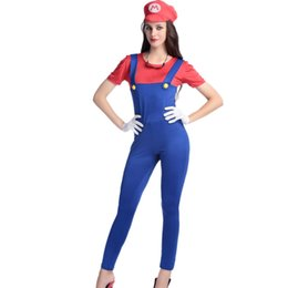 Wholesale Mature Ladies Women - Fashion Sexy Halloween Super Mario Costume Adult Women's Fancy Dress Ladies Super Mario Halloween Cosplay Clothes For Mature Women W531813B