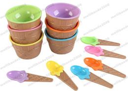 Wholesale Ice Cream Scoop Plastic - 2017 NEW Plastic Ice Cream Cup with Spoon Lovely Dessert Bowl MINI Ice Cream Tools Mix color MYY