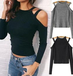 Wholesale Women S Sweaters Sexy - 2017 new Women Knitted Jumper Fashion sexy Off Shoulder bottoming shirt sweater Pullover Long Sleeve Casual Bodycon Clubwear