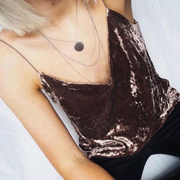 Wholesale Brown Girl Top - Wholesale- Cool Sexy velvet crop top Women Pink Brown club Party Spaghetti Strap Cropped Camisole Tank Top Girls blusa #517