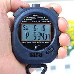 Wholesale Stop Counter - Wholesale- Mini Multifunction 2 Rows 10 Memories Handheld Electronic Stop Watch Digital Timer Sports Counter Stopwatch PC2810