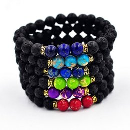 Wholesale Craft Wholesale Stones - 2017 New Arrival Lava Rock Beads Charms Bracelets colorized Beads Men's Women's Natural stone Strands Bracelet For Fashion Jewelry Crafts