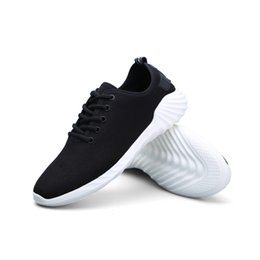 Wholesale Soles Shoe Slip Resistant - Men Shoes Fly Woven Fabric Summer Breathable Sport Running Flat Men Lace-up Shoes Wear Resistant Non-slip Sneakers PU Sole