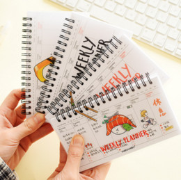 Wholesale Paper Line - Wholesale- 1Pcs set Kawaii Paper Cover Transparent PP coil Weekly Planner Notebook With Lined Paper For Kids Gift Stationery