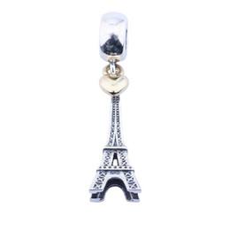 Accesorios eiffel online-Luz de color oro amarillo del corazón de la torre Eiffel de los encantos colgantes Vintage 925 plata esterlina granos del encanto DIY marca pulseras accesorios de la joyería