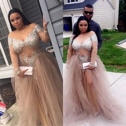 Wholesale Sexy Evning Dresses - Stunning Plus Size Prom Dresses with Beadings Sheer Jewel Neck Long Sleeves Tulle Long Party Dresses See Through Light Champagne Evning Gown