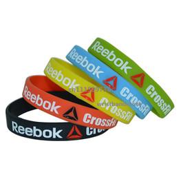 Wholesale coloured wristbands - 50pcs lot New Crossfit Silicone 5 colours Debossed Wristband Bracelet