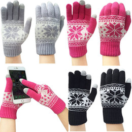 Wholesale Gloves For Mobile - Wholesale- Wholesale Warm Winter Thick Gloves Knitted Fleece Touch Screen Gloves Snowflake Finger Mittens Gloves For Mobile Phone Tablet