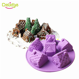 Wholesale Diy House Tools - Delidge 1 pc Small House Cake Mold Silicone Christmas 6 House Chiffon Cake Mold DIY Fondant Different Shape House Baking Mould