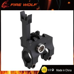 Wholesale Folding Rifles - FIRE WOLF Tactical Clamp-On Gas Block with Folding Front Sight CNC Aluminum Machined Iron Sight For Rifle Hunting Accessories