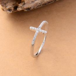 Тенденция боком крест посеребренные кольца ювелирные изделия бесплатная доставка розовое золото покрытием Кристалл старинные обручальное кольцо для женщин от