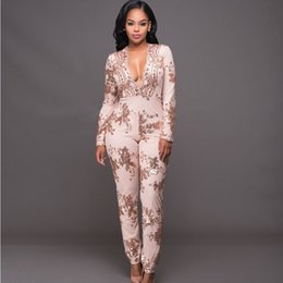 Wholesale Women Sophisticated Fashion - Wholesale- Rompers Womens Jumpsuit 2016 Sexy Sophisticated Slim V-Neck Long Sleeve Lace Gold Sequin Women Jumpsuits Long Pants Clubwear