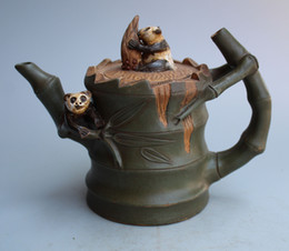 Wholesale Zisha Yixing Teapots - Collection Chinese Yixing Handwork Carving Bamboo shape Panda Zisha Teapot