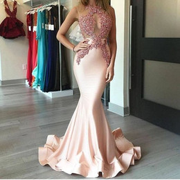 Wholesale Yellow Girls Party Dress Pattern - 2017 Pink Satin Mermaid prom Celebrity 12y modest girls formal gowns 2017 sheer neck modest Applique special occasion evening party dresses
