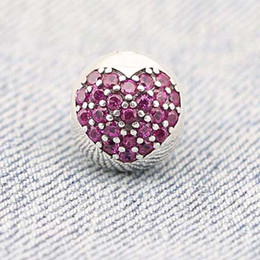 Wholesale Violet Movie - Lovely Heart Design Violet Crystal Stone Round Fit Pandora Charms 925 Sterling Silver Heart Charm Crystal Beads PW0001