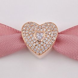 Wholesale Sterling Cz Jewelry Wholesale - Valentines Day 925 Sterling Silver Beads Heart With Clear Cz Charm Fits European Pandora Style Jewelry Bracelets 781555CZ Rose Gold Plated