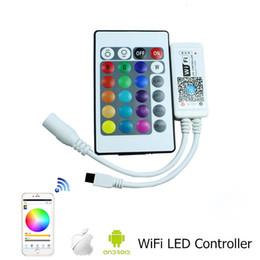 Wholesale Wifi Control Led - DC12V RGB RGBW Wifi LED Controller android  IOS Mini + IR 24Key Remote control for SMD 5050 LED Strip Light Via Smartphone