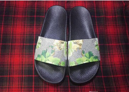 Wholesale Leather Back Flowers - Latest Fashion flowers print slide sandals for mens and womens with many colors fashionable leather Slipper On Sale