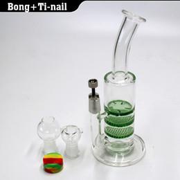 Wholesale Glass Nail Oil - glass bong 3X Layer Honeycomb  tornado water pipe dab oil rig bongs with GR2 Titanium nail 4mm Quartz banger