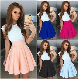 Wholesale Lace Skater Dresses - Hot Sale Fashion Womens Lace Party Cocktail Mini Dress Ladies Summer Short Sleeve Skater Dresses