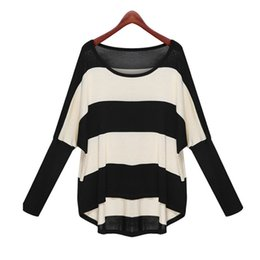 Wholesale Loose Batwing Sweaters For Women - Wholesale-Spring Autumn 2016 Batwing Sleeve Colorblock Striped Thin Pullover Knit Sweater for Women Casual Loose blouses & shirts W00724