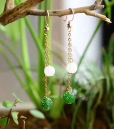 Wholesale Jade Small Beads - The original small and pure and fresh style 14 k gold inlaid jade Lotus natural hetian jade bead eardrop ear hook style collocation physical