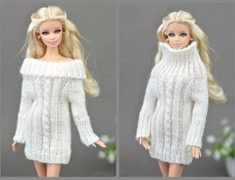 Wholesale Doll Toys Clothes - Pure White Doll Accessories Knitted Woven Handmade Tops Coat Dress Clothes Sweater For Barbie Doll Gifts For Girls Kids Toy
