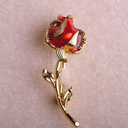 Wholesale Wedding Dress Coats For Women - Wholesale- Lovely Rose Flower Brooches Enamel Esmalte Gold Plated Broche Pin For Women Coat Collar Cilps Dress Wedding Ornament Boutonnie