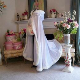 Wholesale White Faux Fur Formal Dress - 2017 HOT Long Design Cloak Double Faced Plush Winter Formal Wedding Dress Accessories Thermal Bridal Jacket Wraps Shawl