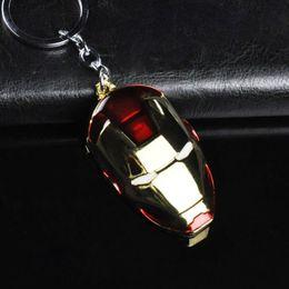Wholesale Superhero Bags - 6*3.8CM High Quality Iron Man Keychains Key Ring The Avenger Superhero Ironman Mask Key Chain Holder For Bag Buckle Car Pendants Jewelry