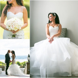 Wholesale Ace Plus - Modest Spaghetti Straps Mermaid Wedding Dresses Bridal Gowns 2017 Sweetheart Tiered Ruffles ace Up Custom Made Wedding Dress