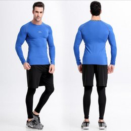 Wholesale Sports Body Suit - Pro body suit men 's suit sports tights long and short sleeves dry T - shirt elastic training clothes