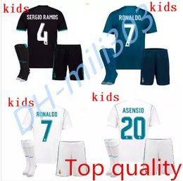 Wholesale Socking Kids - Best quality Kids kit 2017 2018 Real Madrid soccer Jerseys 17 18 RONALDO SERGIO RAMOS BALE RAMOS ISCO MODRIC Benzema football shirt+socks