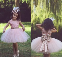 Wholesale First Knot - Lovely Girl Party Dresses Pink Tulle Knee-Length Ball Gown Flower Girl Dresses Lace Sequined Bow Knot First Communion Dresses
