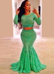 Wholesale Women Pictures Hot - Hot Sale Mint Green Lace Long Sleeve Prom Dresses Plus Size For 2016 Mermaid Women Prom 2 Piece Dress Free Shipping