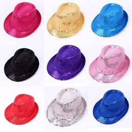 Wholesale Red Gangster Hat - New Unisex Fancy Dress Gangster Hat Fedora Trilby Sequin Cap Hats For Dance Party Stage Performance